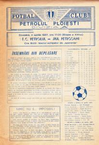 Program meci fotbal PETROLUL PLOIESTI - JIUL PETROSANI 04.04.1987