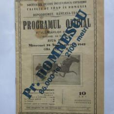 RARISIM! HIPODROMUL BANEASA-TRAP PROGRAMUL OFICIAL AL ALERGATORILOR /24 SEP.1941 - Pliant Meniu Reclama tiparita
