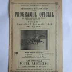 Cumpara ieftin RARISIM! HIPODROMUL BANEASA-TRAP PROGRAMUL OFICIAL AL ALERGATORILOR /7 IAN.1940