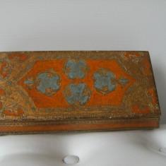 Cutie de bijuterii, din lemn, veche, decorata oriental, de colectie/ decor. - Cutie Bijuterii