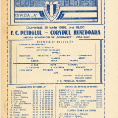 Program meci fotbal PETROLUL PLOIESTI - CORVINUL HUNEDOARA 15.06.1986