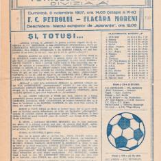 Program Petrolul Ploiesti - Flacara Moreni 08.11.1987 - Program meci