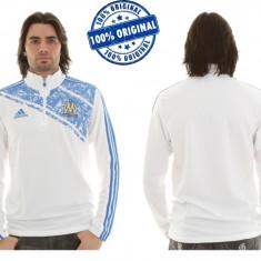 Bluza barbat Adidas Olympique Marseille - bluza originala - Bluza barbati Adidas, Marime: L, Culoare: Alb, La baza gatului, Poliester
