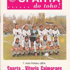 Program meci fotbal SPARTA PRAGA (Cehia) - VITORIA GUIMARAES (Portugalia) 1986