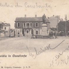 CONSTANTA, PIATA OVIDIU, CIRCULATA, JUL. ''906, STAMPILA TREN - Carte Postala Dobrogea pana la 1904, Printata