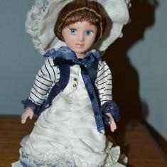 Papusa vintage de portelan, 18cm, haine de epoca, ochi albastri, par saten, deco