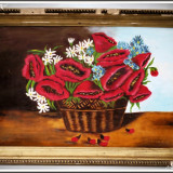 PICTURĂ MARE ȘI VECHE ÎN ULEI PE PÂNZĂ, NATURĂ MOARTĂ - MACI, SEMNATĂ V. BUBLEA! - Pictor roman, Flori, Realism