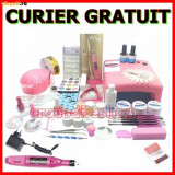 KIT SET UNGHII FALSE CU GEL MANICHIURA LAMPA UV PILA ELECTRICA