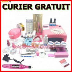 KIT SET Unghii false Sina CU GEL MANICHIURA LAMPA UV PILA ELECTRICA