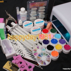 KIT MANICHIURA SET UNGHII FALSE 12 GEL UV ,LAMPA 36 w, BeautyUkCosmetics