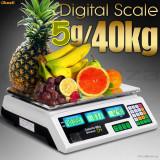 CANTAR Piata Magazin Electronic Digital  AFISAJ verde DUBLU 40 kg