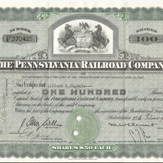 THE PENNSYLVANIA RAILROAD COMPANY 100 SHARES 1950 VF - Cambie si Cec