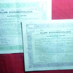 2 Titluri Datorie Publica - Loteria Stat 1940 Ungaria, 50 si 100 pengo, cupoane