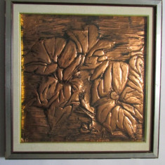 FLORI-TABLOU-metaloplastie, cupru, inramat - Arta din Metal