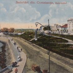 SALUTARI DIN CONSTANTA, BULEVARDUL - Carte Postala Dobrogea dupa 1918, Necirculata, Printata