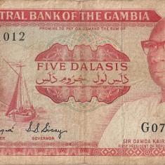 GAMBIA 5 DALASIS ND (1972-86) U - bancnota africa, An: 1975