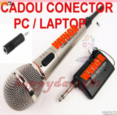 MICROFON WIRELESS + CADOU MUFA ADAPTOR CONECTOR PC/LAPTOP
