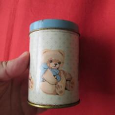 Cutie de tabla veche alimente - dulciuri pentru copii, cutie reclama de colectie