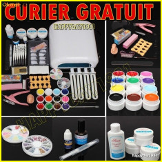 KIT UNGHII FALSE, SET MANICHIURA 12 GEL COLOR, LAMPA UV Thebodyshop