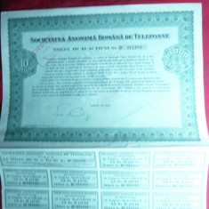 Titlu de 10 Actiuni 1938-Soc. Anonima Romana Telefoane, val. 10 000 lei