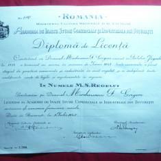 Diploma de Licenta - Copie -1947- Academia Studii Comerciale si Ind.Bucuresti - Diploma/Certificat