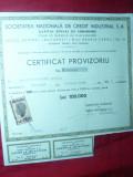 Certificat Provizoriu pt.100 Actiuni 1947-Soc.Nationala Credit Industrial SA