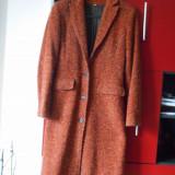 Palton de lana de dama - Palton dama, Marime: 36, Culoare: Maro
