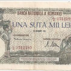 ROMANIA 100000 LEI 1946 XF - Bancnota romaneasca