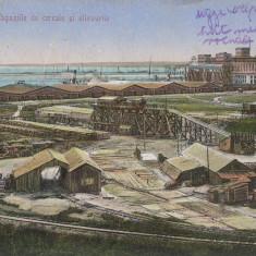 CONSTANTA, MAGAZIILE DE CEREALE SI SILOZURILE, CIRCULATA MAR. ''22 - Carte Postala Dobrogea dupa 1918, Printata