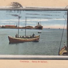 CONSTANTA, BARCA DE SALVARE, CIRCULATA JUL. 1912 - Carte Postala Dobrogea 1904-1918, Printata
