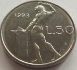 Moneda 50 Lire - ITALIA, anul 1993 *cod 893 a.UNC, Europa