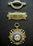 Medalie masonica + barete 1958 - argint aurit 925 - 29.5 grame