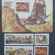 R.S. AFRICA 1986 - EXPLOATAREA AURULUI 4 VALORI SI 1 S/S, NEOBLIT. - AS 195