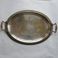 TAVA de SERVIT pentru SALON - alama argintata - 1900 - Metal/Fonta