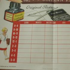 Orar scolar cu reclama la penita cerneala si creion / anii 40 - RARITATE !!! - Reclama Tiparita