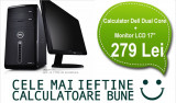"Calculator Dell Dual Core + Monitor LCD 17"" Garantie 1 an, PROMOTIE!, Intel Pentium Dual Core, 1 GB, 40-99 GB"