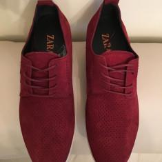 Pantofi sport ( teniși) ZARA din piele naturală perforata - Pantofi barbati Zara, Marime: 40, 41, Culoare: Bordeaux