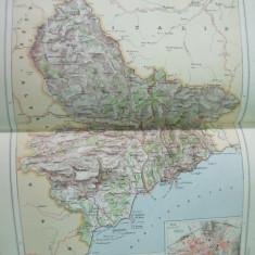Alpii Maritimi Alpes Maritimes Provence Nice  Franta 1888 harta color