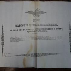 Dobrotesti, Diploma Domneasca pentru Ivan Diaconu, 1845 - Diploma/Certificat