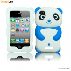 Husa Iphone 4 4s Panda Silicon Husa silicon iphone 4 4s - Husa Telefon Apple, Alb