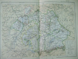 Bavaria Germania Wurttemberg 1888 harta color