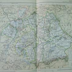 Bavaria Germania Wurttemberg 1888 harta color