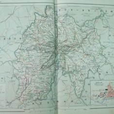 Franta Cantal Aurillac  1889 harta color