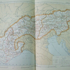 Alpii lantul muntos 1888 harta color