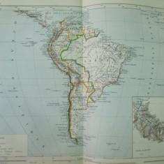 America de Sud 1888 harta color