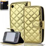 Husa Iphone 3G / 3GS Flip Portofel Gold - Husa Telefon Apple, Auriu