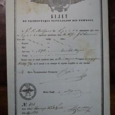 Braila, bilet de export cereale pentru negustorul K. N. Mastrapa, 1855 - Pasaport/Document