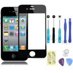 Sticla Display Fata IPHONE 4 4S NEGRU + folie adeziva + kit instrumente - Display LCD