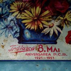 Tava veche realizata din tabla litografiata ANIVERSARA P.C.R. 30 ani 1921 - 1951