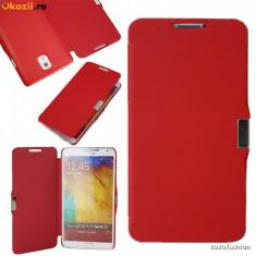 Husa SAMSUNG GALAXY NOTE 3 Flip Portofel Carte - Husa Telefon Samsung, Rosu, Cu snur